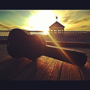 guitar on bridge